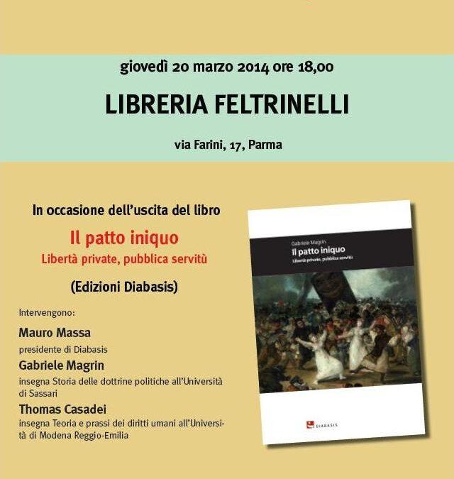 """20.03.14 – Presentazione del libro """"Il patto iniquo"""" di Gabriele Magrin – Parma"""