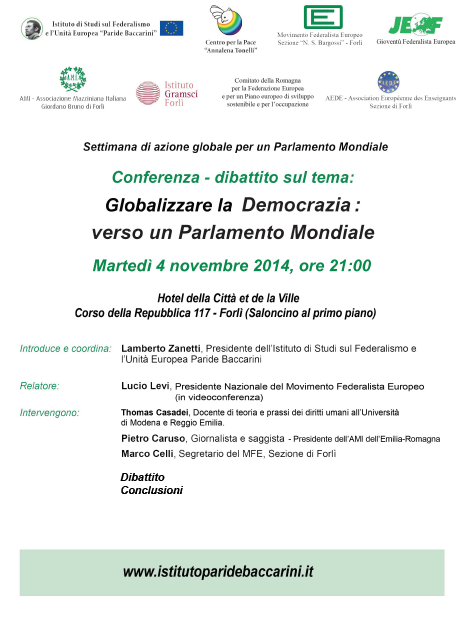04.11.14 – Globalizzare la democrazia: verso un Parlamento Mondiale – Forlì