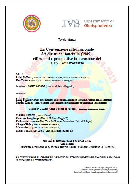 18.11.14 – Tavola rotonda La Convenzione internazionale dei diritti del fanciullo (1989): riflessioni e prospettive in occasione del XXV° Anniversario – Modena