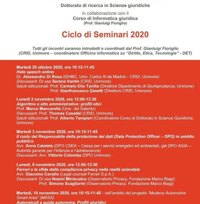 Officina informatica del CRID – Ciclo di seminari 2020