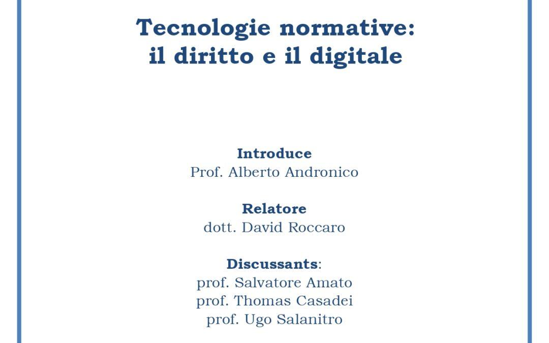 Tecnologie normative: il diritto e il digitale