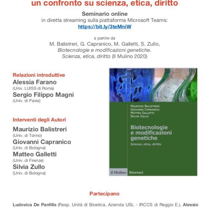 Biotecnologie e modificazioni genetiche: un confronto su scienza, etica e diritto