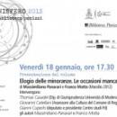 """18.01.13 – Presentazione del volume """"Elogio delle minoranze. Le occasioni mancate dell'Italia"""" – Reggio Emilia"""